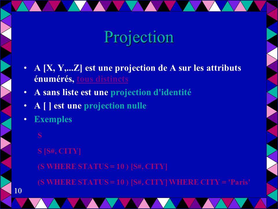 Projection A [X, Y,...Z] est une projection de A sur les attributs énumérés, tous distincts. A sans liste est une projection d identité.